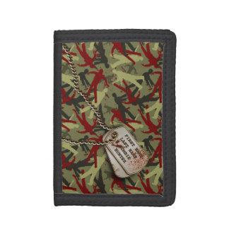 Zombie Camo w Dog Tags Nylon Tri-fold Wallet