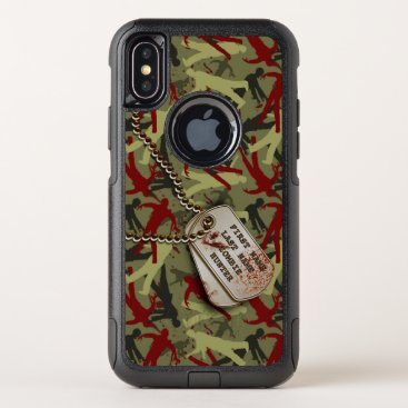 Halloween Themed Zombie Camo with Dog Tags OtterBox Commuter iPhone X Case