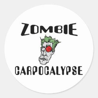 Zombie Carpocalypse Classic Round Sticker
