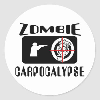 Zombie Carpocalypse Hunting Classic Round Sticker