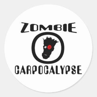 Zombie Carpocalypse Symbol Classic Round Sticker