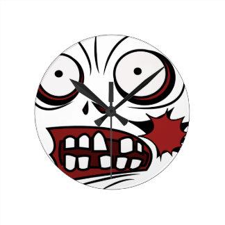 zombie cartoon face zombie round clock