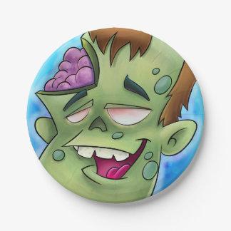 Zombie cartoon kids paper plates