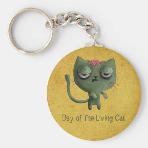 Zombie Cat Basic Round Button Keychain