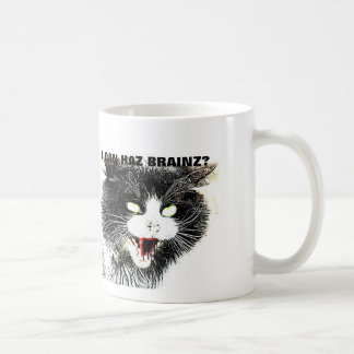 Zombie Cat I Can Haz Brainz Coffee Mug