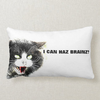 Zombie Cat I Can Haz Brainz Lumbar Pillow