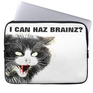 Zombie Cat I Can Haz Brainz Neoprene Laptop Sleeve