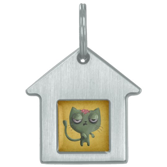 Zombie Cat Pet Name Tag