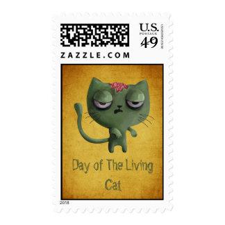 Zombie Cat Postage Stamp