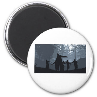 Zombie Chase in the Forest 2 Inch Round Magnet