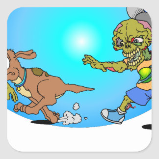 Zombie Chase Square Sticker