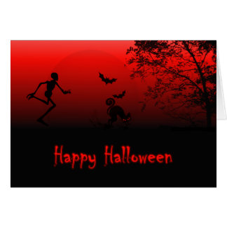 Zombie chases a Halloween Cat--orange and black Greeting Card