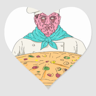 Zombie Chef Holding Pizza Pie Grime Art Heart Sticker