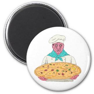 Zombie Chef Holding Pizza Pie Grime Art Magnet