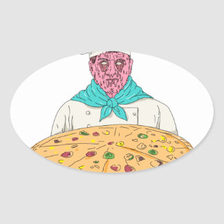 Zombie Chef Holding Pizza Pie Grime Art Oval Sticker