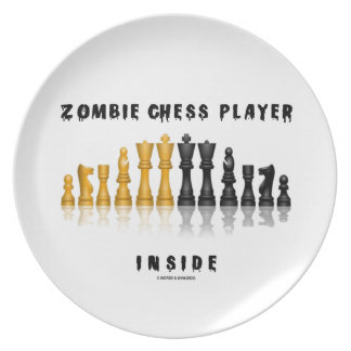 Zombie Chess Player Inside (Reflective Chess Set) Melamine Plate