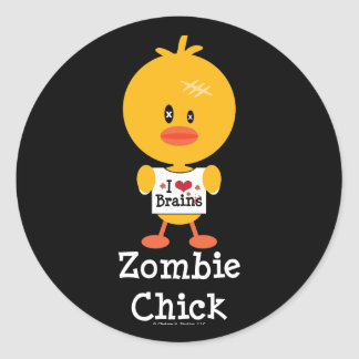 Zombie Chick Stickers I Heart Brains