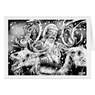 Zombie Christmas Card with interior greeting