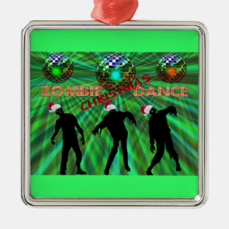 Zombie Christmas Disco Dance Metal Ornament