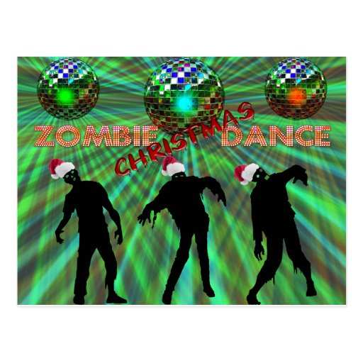 Zombie Christmas Disco Dance Postcard