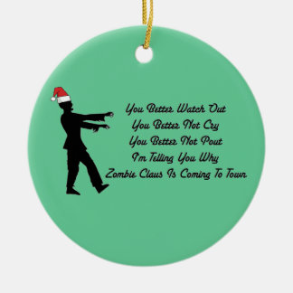 Zombie Claus Coming To Town Double-Sided Ceramic Round Christmas Ornament