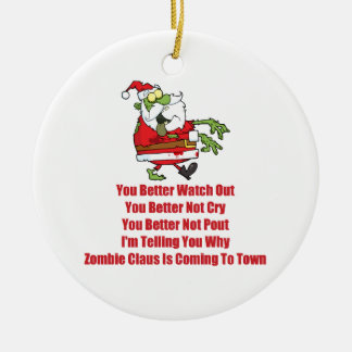 Zombie Claus (green) Ceramic Ornament