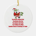 Zombie Claus (green) Double-Sided Ceramic Round Christmas Ornament