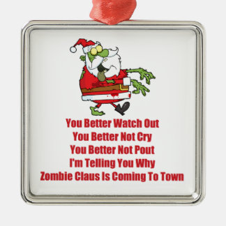 Zombie Claus (green) Metal Ornament