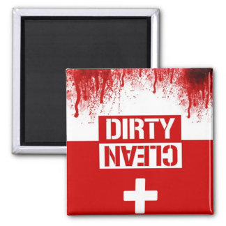 zombie clean dirty dishwasher 2 inch square magnet