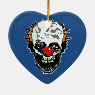 Zombie clown ceramic ornament
