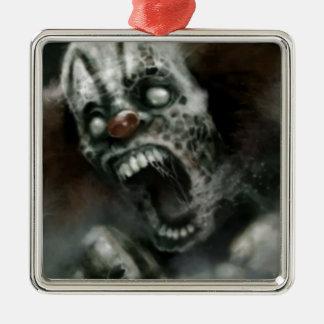 zombie clown square metal christmas ornament
