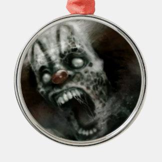 zombie clown round metal christmas ornament
