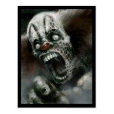 Zombie Clown Postcard at Zazzle