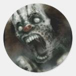 zombie clown round sticker