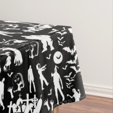 Halloween Themed Zombie Collage Walking Dead Halloween Tablecloth