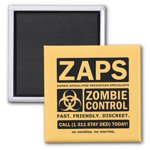 Zombie Control Fridge Magnets