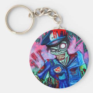 Zombie Cop Basic Round Button Keychain