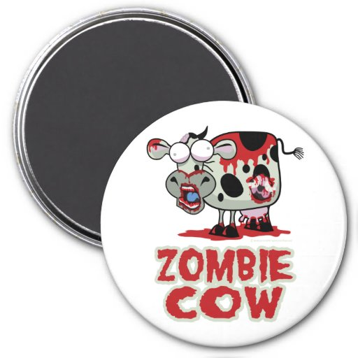 Zombie Cow 3 Inch Round Magnet