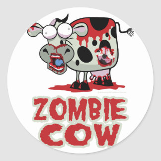 Zombie Cow Classic Round Sticker