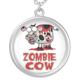 Zombie Cow Round Pendant Necklace