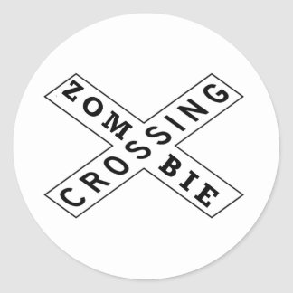 Zombie Crossing Classic Round Sticker
