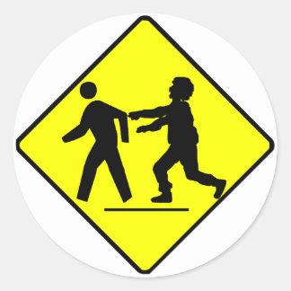 Zombie Crossing Round Stickers