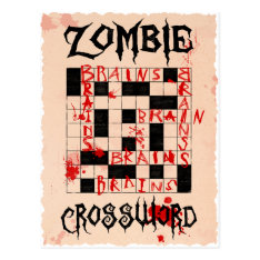 Zombie Crossword Postcard at Zazzle