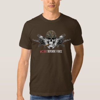 Zombie Defense Force Winged Skull with Helmet T-shirt