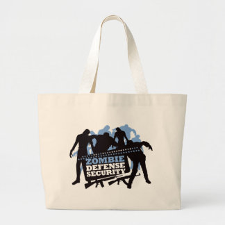 Zombie Defense Security - Black and Blue Large Tote Bag