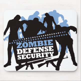 Zombie Defense Security - Black and Blue Mouse Pad