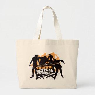 Zombie Defense Security - Black and Orange Large Tote Bag