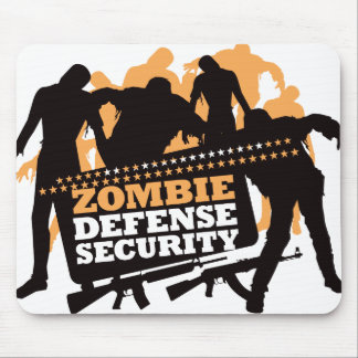 Zombie Defense Security - Black and Orange Mouse Pad