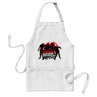 Zombie Defense Security - Black and Red Adult Apron