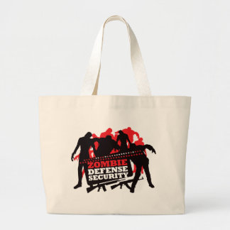 Zombie Defense Security - Black and Red Large Tote Bag